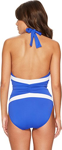 Lauren Ralph Lauren Women's Beach Club Plunge Twist Halter One-Piece Shaping Fit w/Removable Cups Capri Blue 4 by Lauren by Ralph Lauren (Image #2)