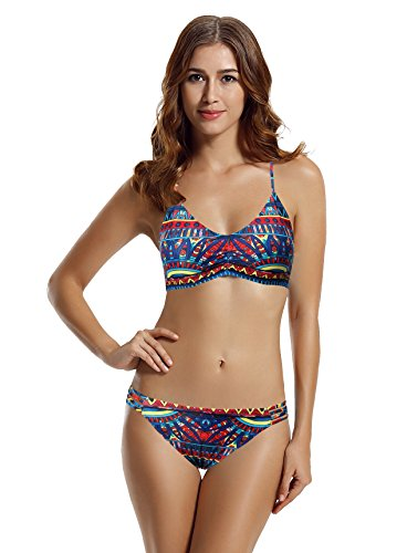 Bikini Separates Top - zeraca Women's Strap Side Bottom Halter Racerback Bikini Bathing Suits (L14, Tribal Aztec)