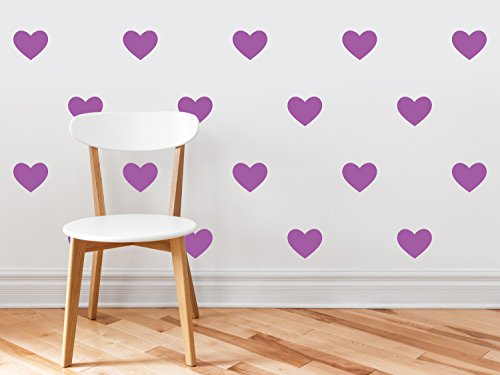 23 Leaves Purple (Heart Fabric Wall Decals - Set of 23 Heart Wall Stickers - Purple - Non-Toxic, Reusable, Repositionable)