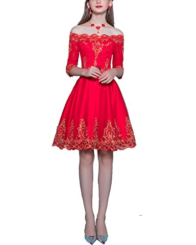 MorySong Shoulder Half Sleeves Short Prom Party Dress With Gold Appliques US10 (Satin Rouge Evening Gown)