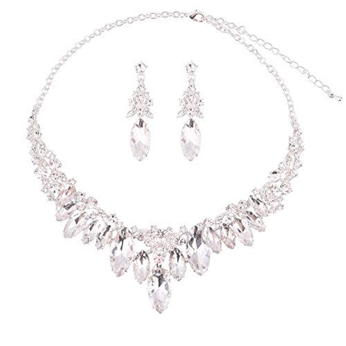 (Paxuan Silver Gold Wedding Bridal Bridesmaid Austrian Crystal Rhinestone Jewelry Sets Statement Choker Necklace Earrings Sets for Wedding Party Prom (White Crystal))
