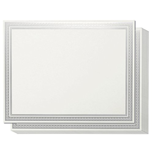 Award Certificates - 50 Blank Plain Paper Sheets - White with Silver Foil Metallic Border Computer Paper - Laser & Inkjet Printer Compatible - Specialty Award Paper, 11 x 8.5 Inches