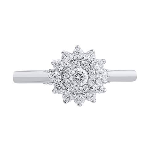 10k White Gold Diamond Double Halo Flower Ring (1/2 cttw, H-I Color, I2-I3 Clarity), Size 7