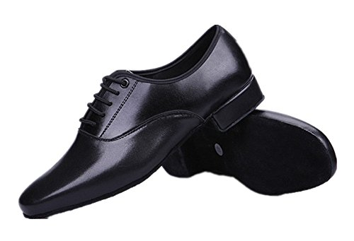 Gogodance Men's Boys Professional Lace-up Black Leather Latin Salsa Tango Ballroom Modern Dance Shoes (10.5US/45)