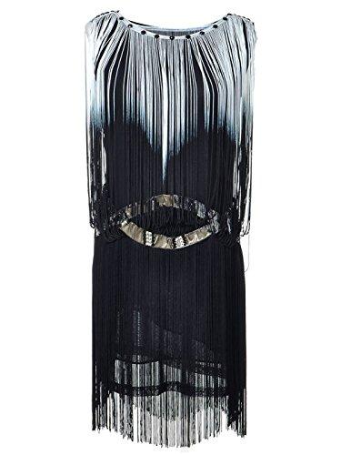 Embellished Drop Waist Dress - Anna-Kaci Womens 1920s Gatsby Flapper Fringe Swing Ombre Cocktail Mini Dress, White, Large