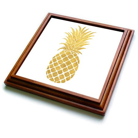 3dRose trv_271077_1 Picturing Gold Glitz Pineapple Trivet with Tile, 8 by 8''