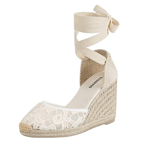 Wedge Ankle Lace - TONIVIS Womens Lace Up Platform Wedges Espadrilles Heel Closed Cap Toe with Soft Ankle-Tie Strap Sandals (8 M US, White Lace - 3