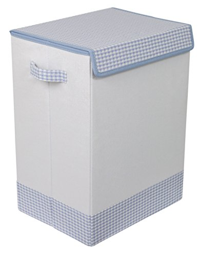 BIRDROCK HOME Baby Clothes Hamper with Lid | Folding Cloth Hamper with Handles | Dirty Clothes Sorter Bin | Easy Storage | Collapsible | Blue and White