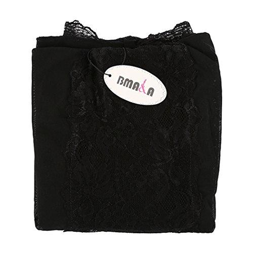 BMAKA Lencería de Encaje Mujer Bata de Dormir con Tanga a Juego 3 Sets Negro