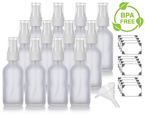 (2 oz Frosted Clear Glass Boston Round White Treatment Pump Bottle (12 Pack) + Funnel and Labels for Cosmetics, Serums, Essential Oils, Aromatherapy, Food Grade, bpa Free)