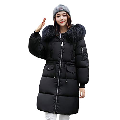 Faux Fur Hooded Coat Winter Warm Long Down Parka Quilted Jacket Outwear ()