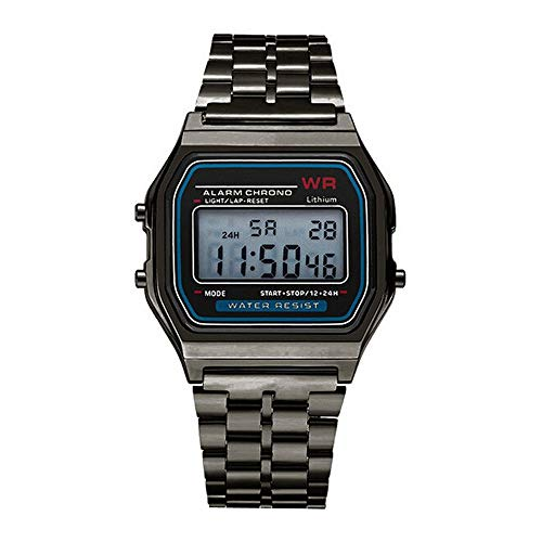 Respctful✿Mens Boys World Time Quartz Watch Digital Watch Sports Watch Countdown Alarm Clock Stopwatch (Gold)]()