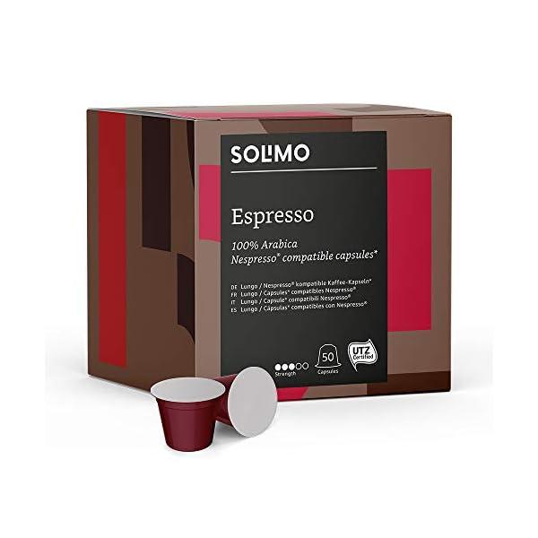 Marca Amazon – Solimo Cápsulas Espresso, compatibles con Nespresso* – café certificado UTZ, 100 cápsulas (2 x 50) 41ApQoYYbgL