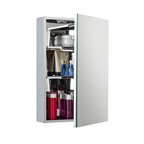 Single Tier Modern Locker - KAASUN Wall-Mounted Bathroom Waterproof Locker Single Door Stainless Steel Mirror Cabinet 16-by-24-by-5-Inch
