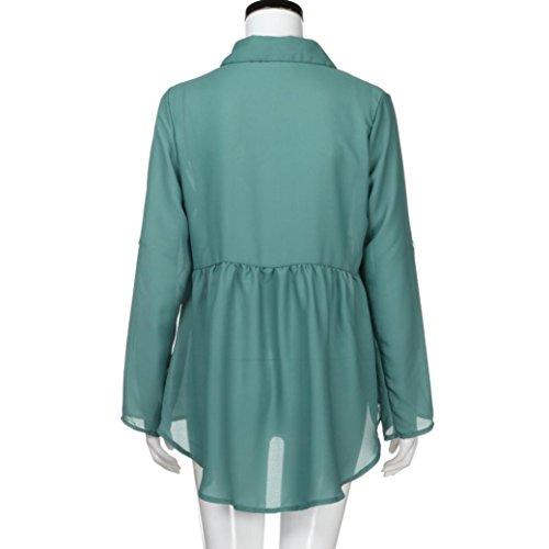 Longues De T en en Manches Chemisier Taille Femme De Bleu Shirt Mousseline Chemises Haut T Chic Col V Longues Clair Soie Top Grande Shirt Izx6wX5w