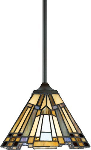 (Quoizel TFIK1508VA Inglenook Tiffany Mini Pendant Lighting, 1-Light, 100 Watts, Valiant Bronze (7