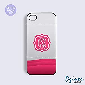 Monogrammed iPhone 6 Case - 4.7 inch model - Grey Pink Pattern Brakcet iPhone Cover