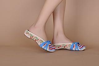 GXS Chaussures brodées, semelle tendon, style ethnique, flip flop féminin, mode, confortable, sandales flip flop féminin SRFGVEDRFG