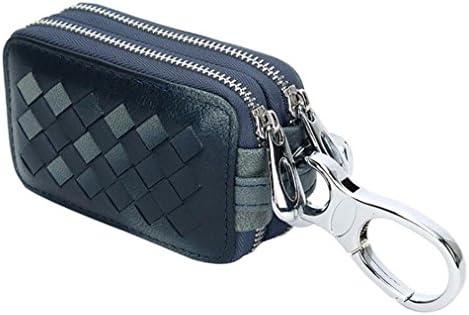 AprinCtempsD Estuche de Llaves Piel Genuino Cartera de Llavero Moto Cuero Anillo Clave Bolso Pequeñas Cremallera para Unisexo Hombre Mujer (Azul): Amazon.es: Equipaje