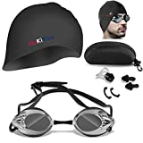 YanKiTour Swim Goggles, Anti Fog UV Protection Swim Goggles Set No Leaking Swimming Goggles with Solid Resilient Swim Cap for Men Women Adult, Free with Protection Case Nose Clip and Ear Plugs (Black)