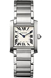 Cartier Tank Francaise Silver Dial Stainless Steel Ladies Watch WSTA0005