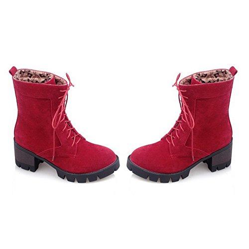 AllhqFashion Damen Blend-Materialien Rund Zehe Mittler Absatz Schnüren Rein Stiefel Rot