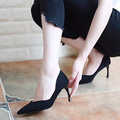 Fashion Thin And High Shoes Shoes KPHY Seven Autumn Suede 7Cm Shallow Heeled Thin Shoes Thirty Pointed Simple Gules wYXAqvxq