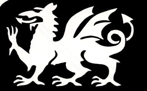 5 off identical welsh dragon stencils for glitter or ink temporary
