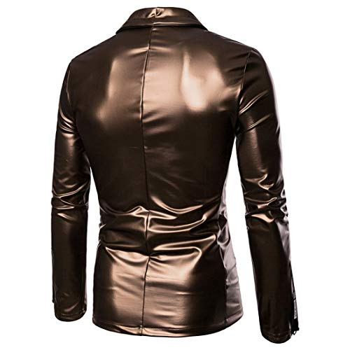 Domple Men's Moto Biker Full-Zip Faux Leather Coats Stretch Sport Coat Blazer Jacket Golden US 2XL by Domple (Image #1)