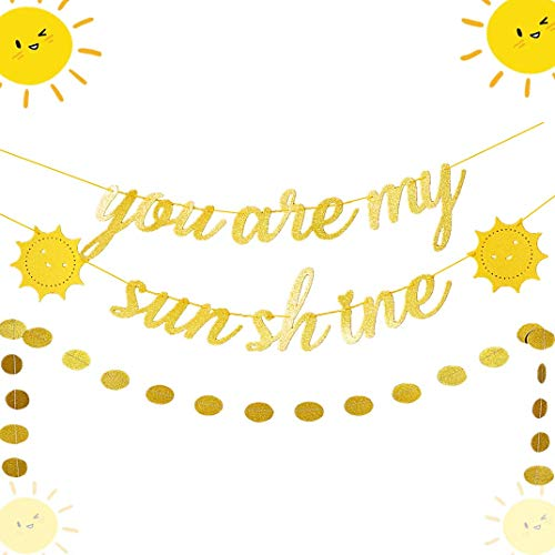 JeVenis Set of 2 You Are My Sunshine Banner Sun Banner You Are My Sunshine Birthday Decoration for Baby Shower Kid's Birthday Party Decorations]()