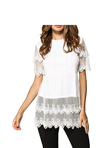 Women's Clothing Women's Shirt Short-Sleeved Stitching Lace Shirt,White,L