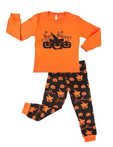 [Little Boys Super Cute Pumpkin Long Sleeve Pajamas Set 2 piece 100% Cotton Sleepwear Toddler T-Shirt & Pants Pjs Halloween Costume Sets Gift 3T] (Halloween Resurrection Costume)