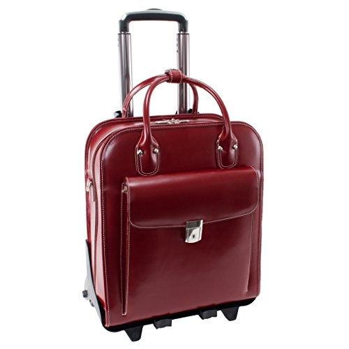 Detachable -Wheeled Women's Laptop Briefcase, Leather, Mid-Size, Red - LA Grange | McKlein - 96496 ()