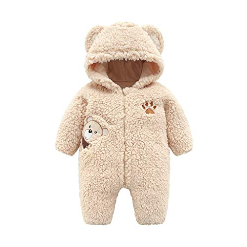 (Sunhusing Newborn Baby Boys Girls Cartoon Bear Ear Hooded Romper Winter Keep Warm Zipper Hoodie Jumpsuit)