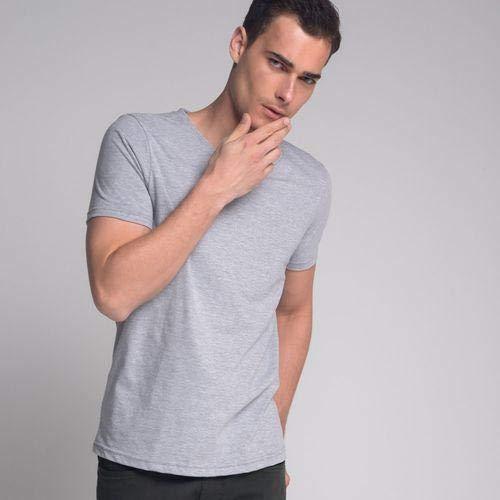 Camiseta Lisa Gola V Cinza