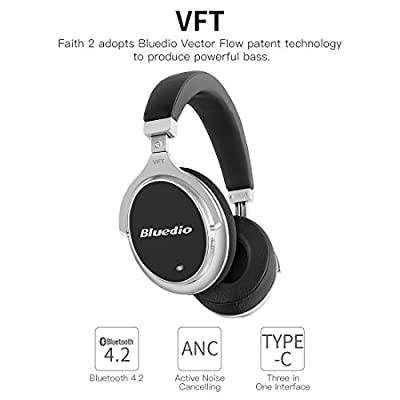 Bluedio F2 (Faith) Active Noise Cancelling Over-ear Business Wireless Bluetooth Headphones with Mic