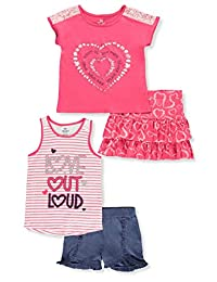 Pink Velvet Girls' Stripes and Lace 4-Piece Shorts Set Outfit