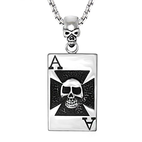 [W-Q Mens Rock Style Personality Poker Pendant Titanium Steel Necklace Sautoir Halloween Jewelry(20
