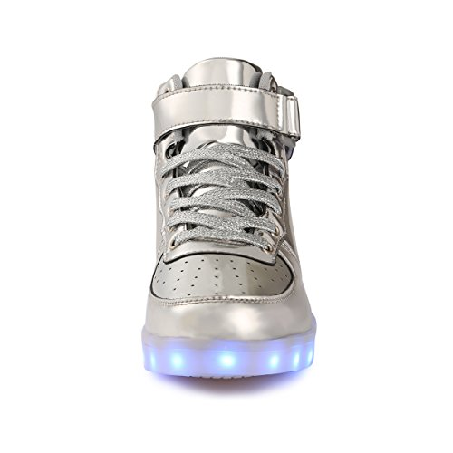 Luminosi Sneakers Bambino Ragazze Ragazzi USB Lampeggiante Silver Sportivet Scarpe Carica Scarpe FLARUT LED 8CfqxEwEz