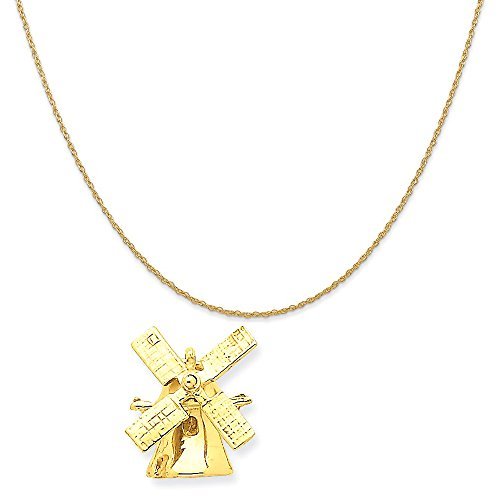 14k Yellow Gold Wind Mill Charm on a 14K Yellow Gold Rope Chain Necklace, 20