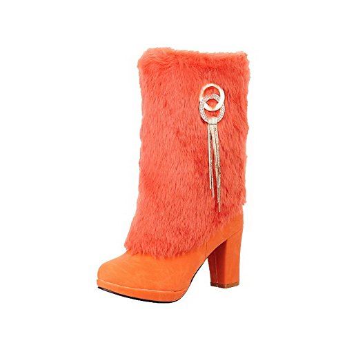 AgooLar Womens Solid High-Heels Round Closed Toe Blend Materials Zipper Boots Orange S8uF0U4jd