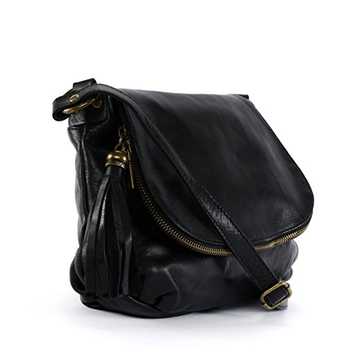 Oh My Bag–Bolso piel suave mujer–Bolsa Bolso Bandolera–Modelo 72heures (pequeño) nuevo negro