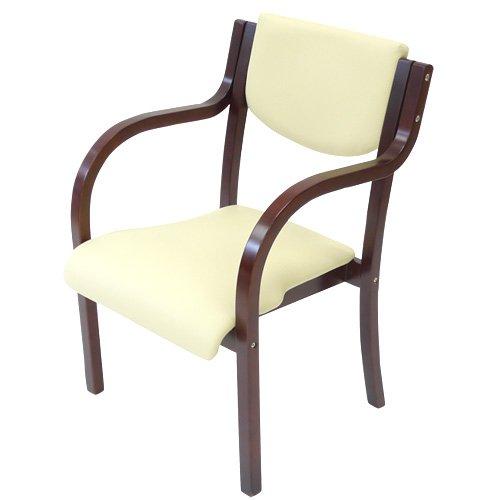 ダイニングチェア 完成品 木製 椅子 ダイニングチェアー スタッキングチェア 肘付 LDCH-2-S (ブラウンフレーム×アイボリー) B01B15MQNG ブラウンフレーム×アイボリー ブラウンフレーム×アイボリー