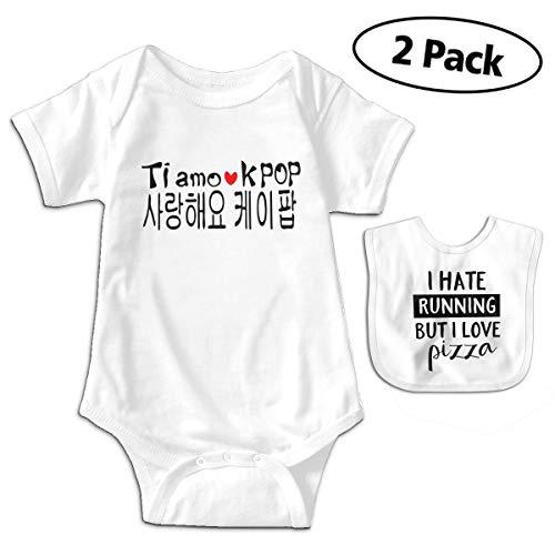 LMJ-PPF Love Kpop Korean Unisex Baby Short-Sleeve Bodysuits Onesies Give Baby Bib, White -