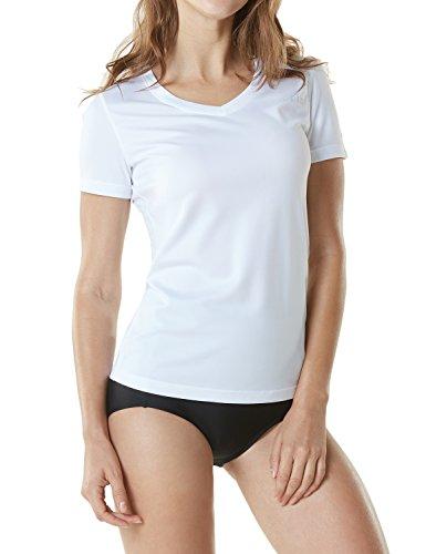 - TSLA Women's UPF 50+Vneck Swimshirt Loose-Fit Short Sleeve Rashguard, Loose Fit V Neck(fss02) - White, Large