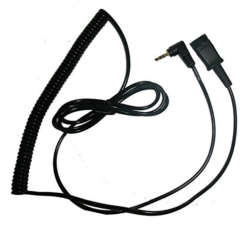 Voistek A2PQD25MM Quick Disconnect QD to 2.5mm Telephone Headset Adapter Cable Coiled for Plantronics Headset to Cisco Linksys SPA Polycom Grandstream Panasonic Zultys & Gigaset Office IP & Many Cordless Dect Phones with sthandard 2.5mm Headset Jack ()