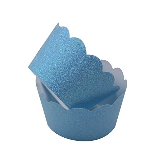 Mybbshower Light Blue Metallic Glitter Scalloped Cupcake Wrappers for Party Decoration Pack of 24