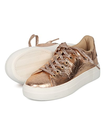 Lace Everyday Women Metallic Versatile Flatform Sneaker Casual Trendy Platform Gold by Rose Round Creeper Collection Up Sneaker Alrisco Qupid Sneaker HC92 Toe v5qdPv