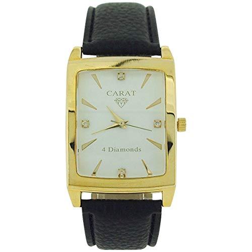 Carat gents 4 Genuine Diamond White Dial Black Leatherette Strap Dress Watch Black Leatherette Strap Watch