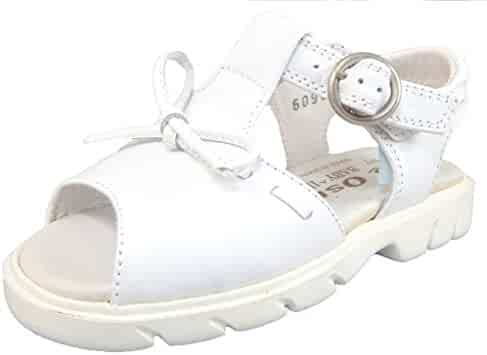 DE OSU - Girls White Leather Sandal with Bow B-6095 (Toddler  Little da614107f11